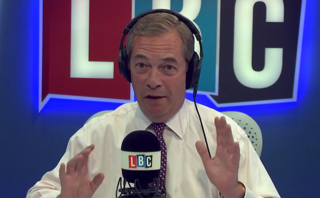 """.@Nigel_Farage describes the Government split on Brexit as an """"absolute farce"""" https://t.co/GO8fFOJRsb #FarageOnLBC"""