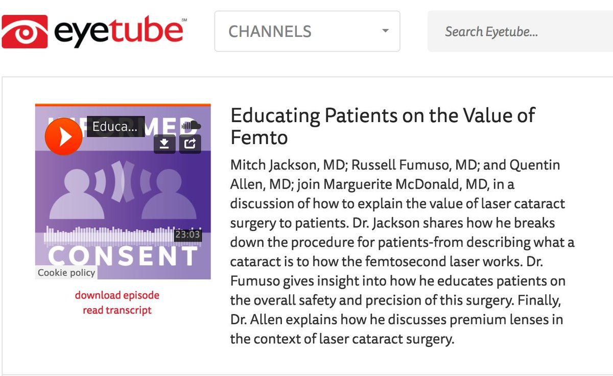 How do you inform patients on the value of #femtosecond laser? Listen [podcast]  http:// eyetube.net/podcasts/infor med-consent/episode.asp?id=4 &nbsp; …  #ophthalmology @eyesurgQA #cataract <br>http://pic.twitter.com/q9ttYShmM9