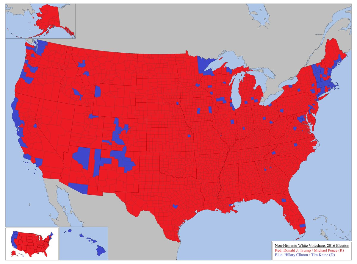 Amazing Maps On Twitter How White People Voted In The US - Us presidential election under 30 years map