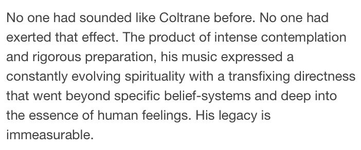 Greatissimo (as usual) @RWilliams1947 piece on John Coltrane, who died 50 years ago today: https://t.co/zw2P7HBBwb