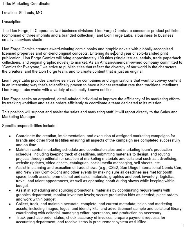 """Lion Forge On Twitter: """"Lion Forge Is Hiring! We Need A Marketing"""
