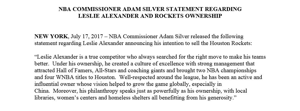 NBA Commissioner Adam Silver released the following statement regarding Leslie Alexander announcing his intention to sell Houston Rockets