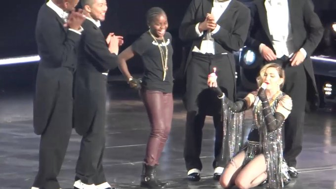 Super Star MADONNA Kneels down do Sing Happy Birthday to Malawian Daughter, Mercy James