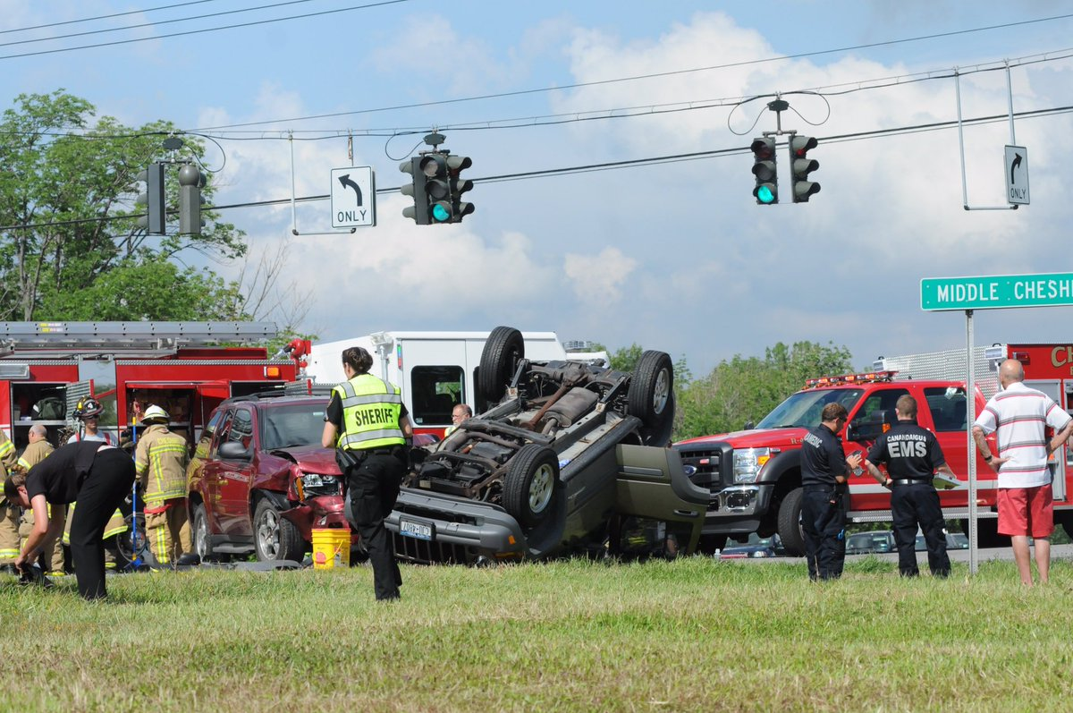 Vehicle lands on roof in two-car wreck