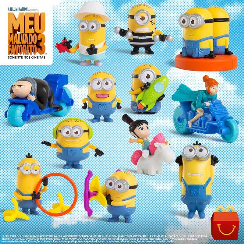 Os brinquedos do #MeuMalvadoFavorito3 chegaram ao #McLancheFeliz e transformarão a ida ao McDonald's numa aventura!