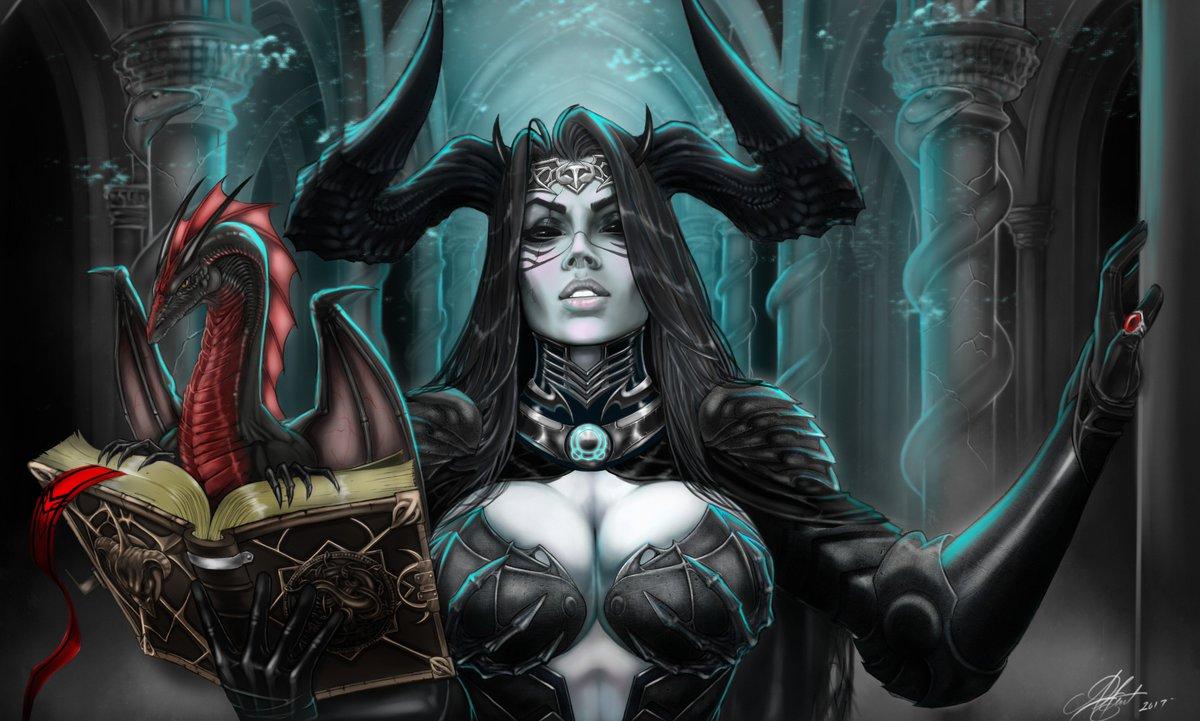Anwar Gant On Twitter Demoness Demonqueen Hornedgoddess Succubus Fantasyart Occultart Digitalart