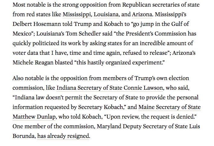 Statement from Vice Chair Kris Kobach dismisses state-level pushback, but resistance to WH Commission on Election Integrity is significant: