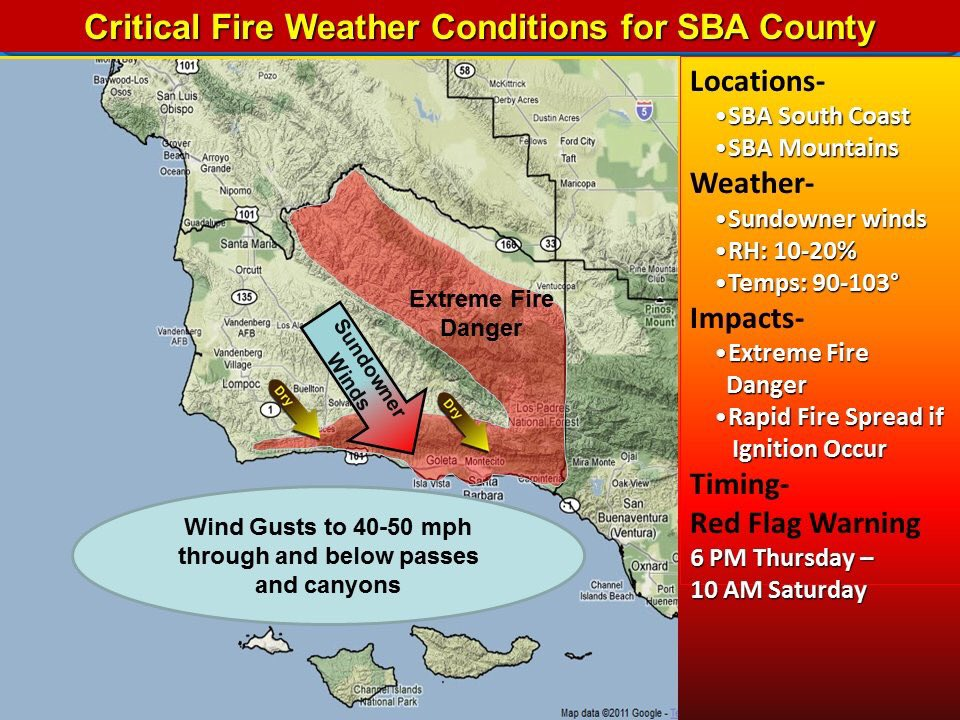 Critical Fire Weather Conditions To Hit Santa Barbara County