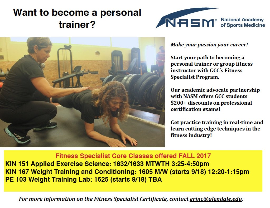 Glendale College Ca On Twitter Want To Become A Personal Trainer