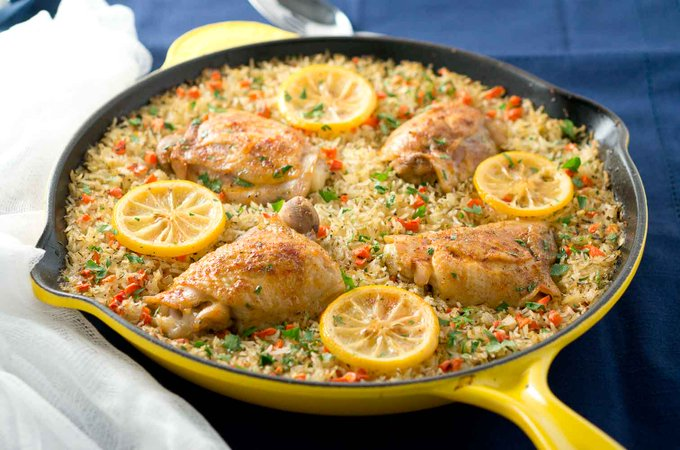One Skillet Mediterranean Chicken and Rice