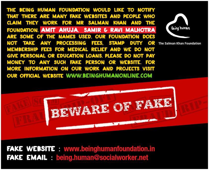 Beware of Fakes #BeingHuman . Official website of Being Human is beinghumanonline.com Twitter: @tweetbeinghuman facebook.com/BeingHumanOnli…