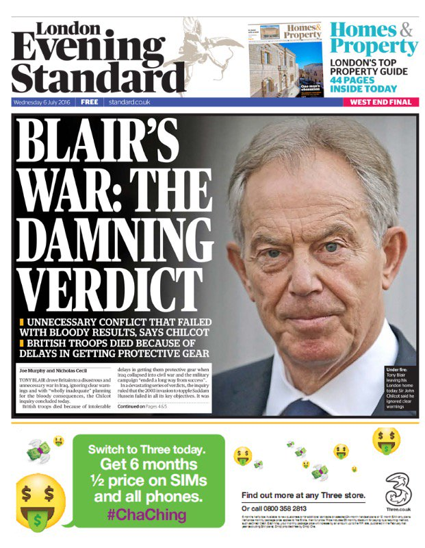 6 July 2016 Iraq Inquiry, chaired by Chilcott, published. It offered strong criticism of Blair's decision go to war. https://t.co/ju6yariuYo