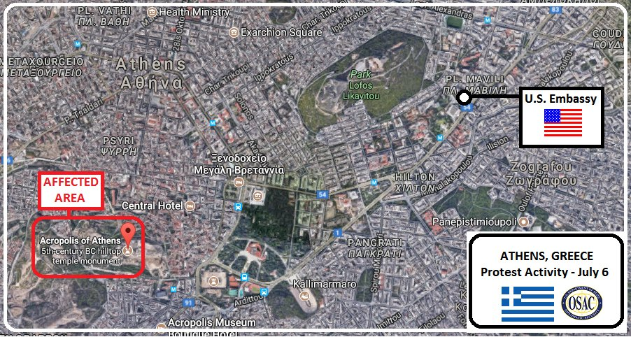 OSAC On Twitter Security Message From US Embassy In - Us embassy athens map