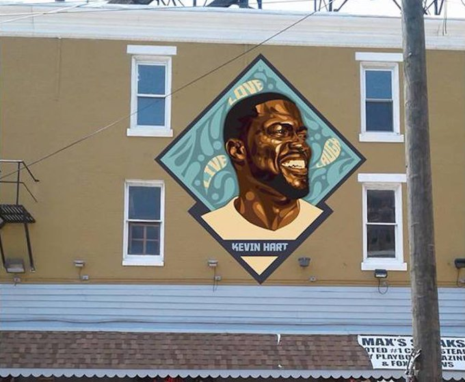 Happy Birthday to Kevin Hart !   The mural at Max\s steaks in Philadelphia is dope !!