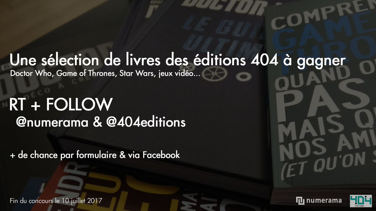 🍀 #CONCOURS 🍀  RT + FOLLOW @Numerama &  🎁  @404editions📚 Livres à gagner : Doctor Who, GoT, Star Wars...  👉 https://t.co/eiHNrkiJTe