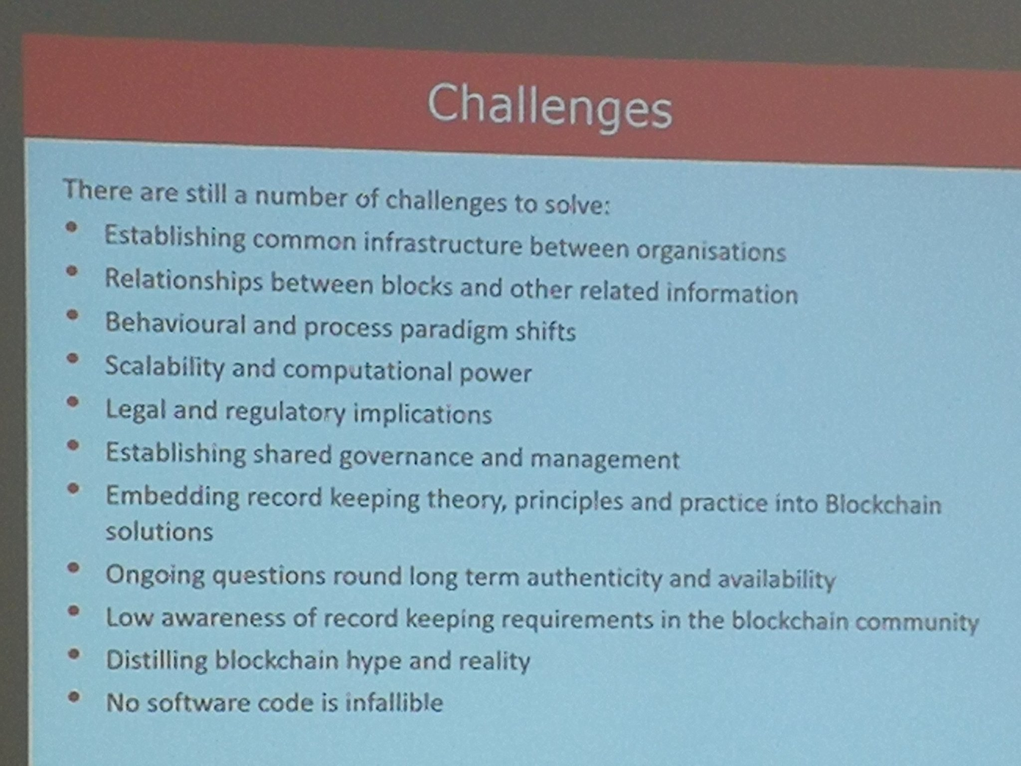 Challenges to consider in using #blockchain for information management #netikx86 https://t.co/MZDKQDXiv6