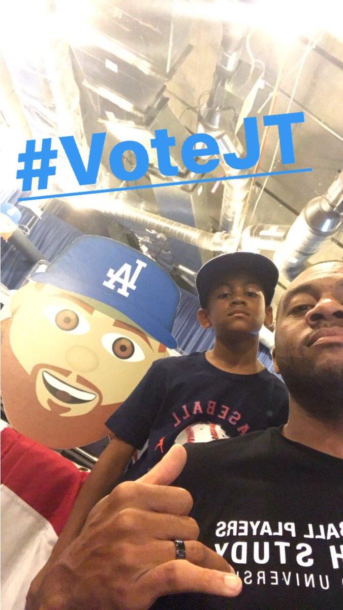 Hash tag votes count today. TWEET/RETWEET #VoteJT & #VoteMoose @Dodgers https://t.co/K6fkZcqAKu