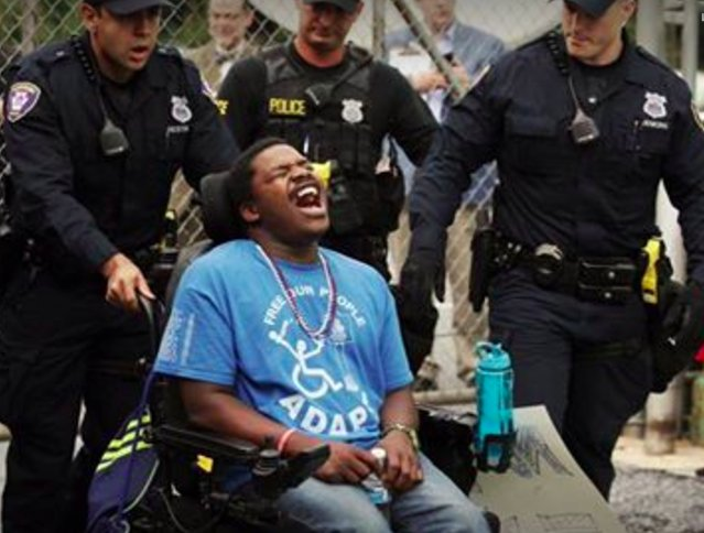 Maybe biggest ADAPT push coming now  In last 24 hrs: — 4 arrests in TX — 5 arrests in PA — Sit-ins in Wisc., Ark., Co. — +14hr sit-in @ AZ https://t.co/0szfnTLyBw