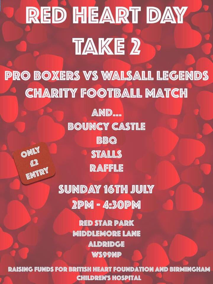 Red Heart Day - Footballers and Boxers to Clash in the Name of Charity