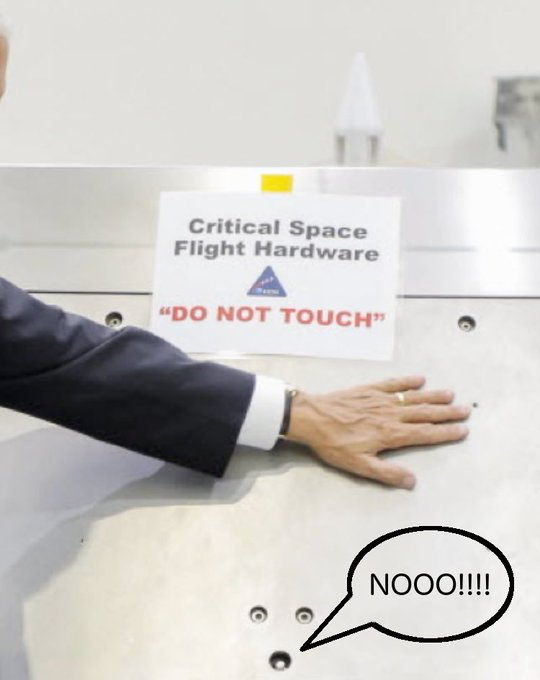 DEGJ5AsXsAAo3sr small mike pence touches nasa equipment labeled 'do not touch', becomes