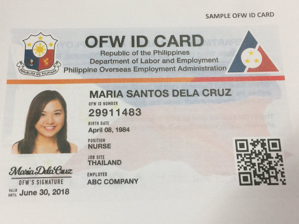 Image result for OFW ID back Ever wonder how an OFW ID, or the I-DOLE ID looks like? Here it is. Front and back copies provided by DOLE, that will be distributed starting this July 2017. Tomorrow after presentation to President Duterte at Malacanang, the DOLE and POEA will start producing this FREE OFW Identification card and will be distributed to POLO Offices or will be sent to OFWs. Here's what we know so far: 1. No need to apply for the iDole or OFW ID.  2. All the bonafide OFWs who are listed in the POEA will acquire the ID. 3. OFW ID is free. There will be no fees to be collected to receive the OFW ID. 4. OFW ID can be used as a beep card in taking MRT or LRT rides. 5. It will serve as a debit or credit card in the OFW Bank that will be opening soon. 6. The OFW ID can be used in any government or private transactions. (e.g. SSS, Philhealth and Pag-Ibig). 7. The OFW will only be the prime recipient and receiver. 8. The OFW ID will be the replacement for OEC. 9. In the future, it will serve as an e-passport.  10. The waiting is over, It will start on July 12, 2017 to be introduced to President Duterte at Malacanang and will be for distribution starting end of July.