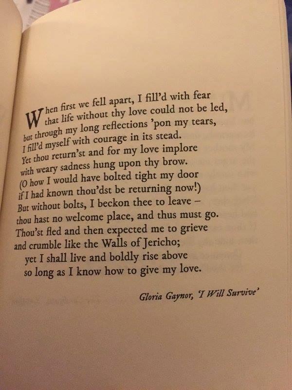 "Gloria Gaynor's ""I Will Survive"" as a Shakespearean Sonnet. https://t.co/J4tpGitpGf"