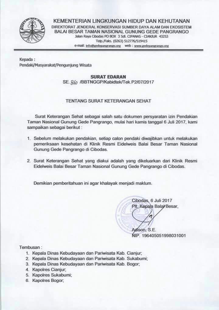 Makin Riweuh Wae Gunung Gede Rt At Edelweisbasah Surat Edaran