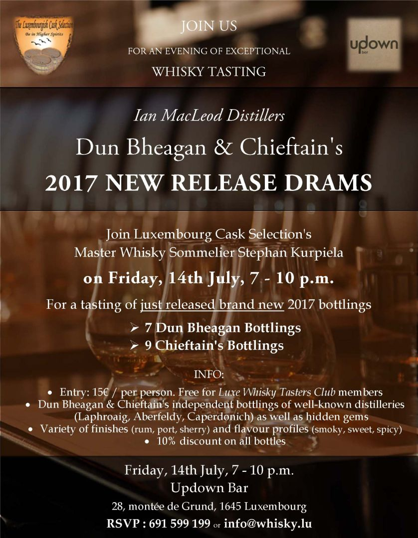 Dun Bheagan & Chieftain's 2017 New Release Drams Tasting @ Updown Bar #whisky https://t.co/FfJkZlwR3U