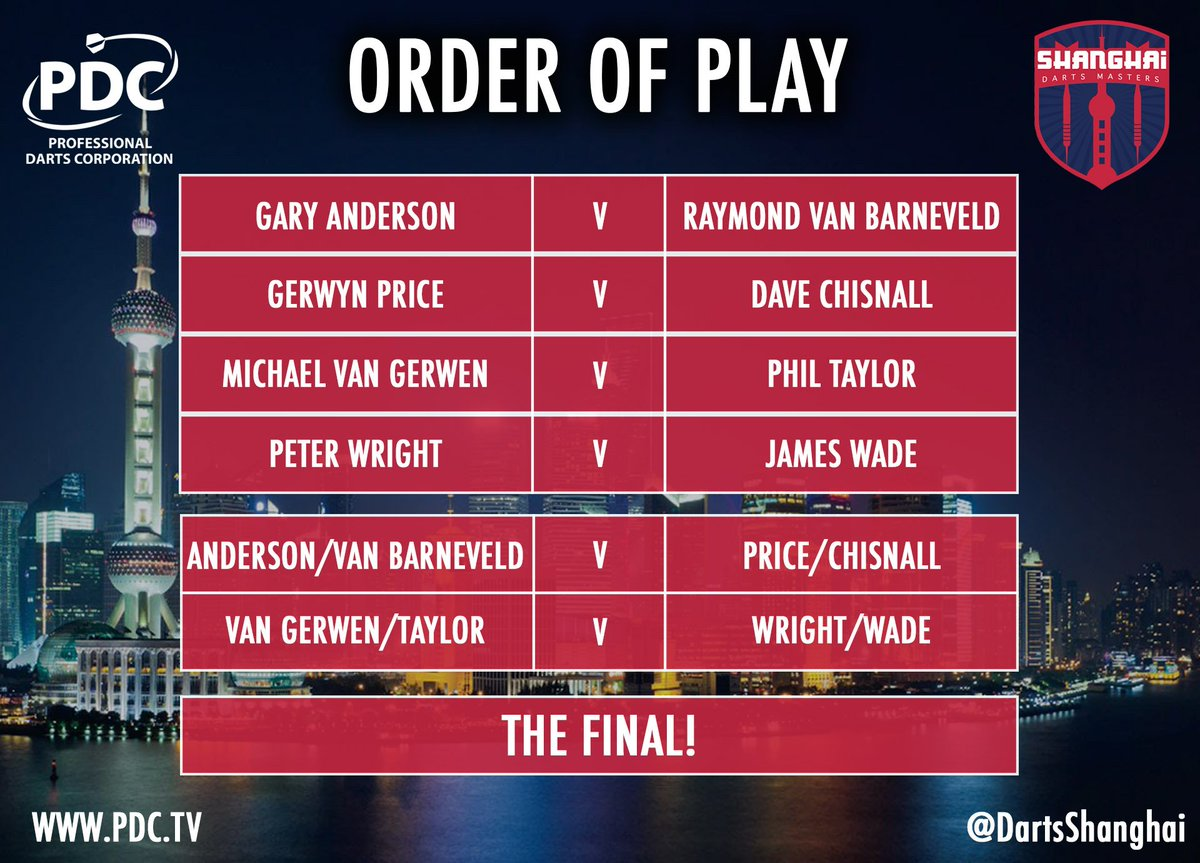 HERE WE GO... What a night of darts we have in store! Predictions? #ShanghaiDarts