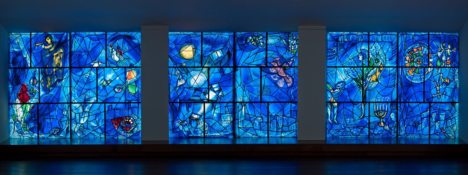 "Art Institute on Twitter: ""Marc Chagall—born 130 years ago today—presented ""America Windows"" as a gift to the Art Institute in 1977."
