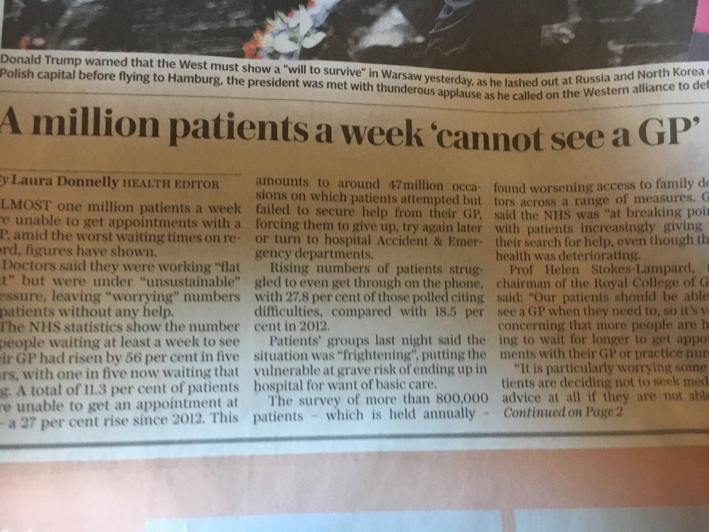 The front page of today's London Daily Telegraph.  Welcome to what single payer is really like.