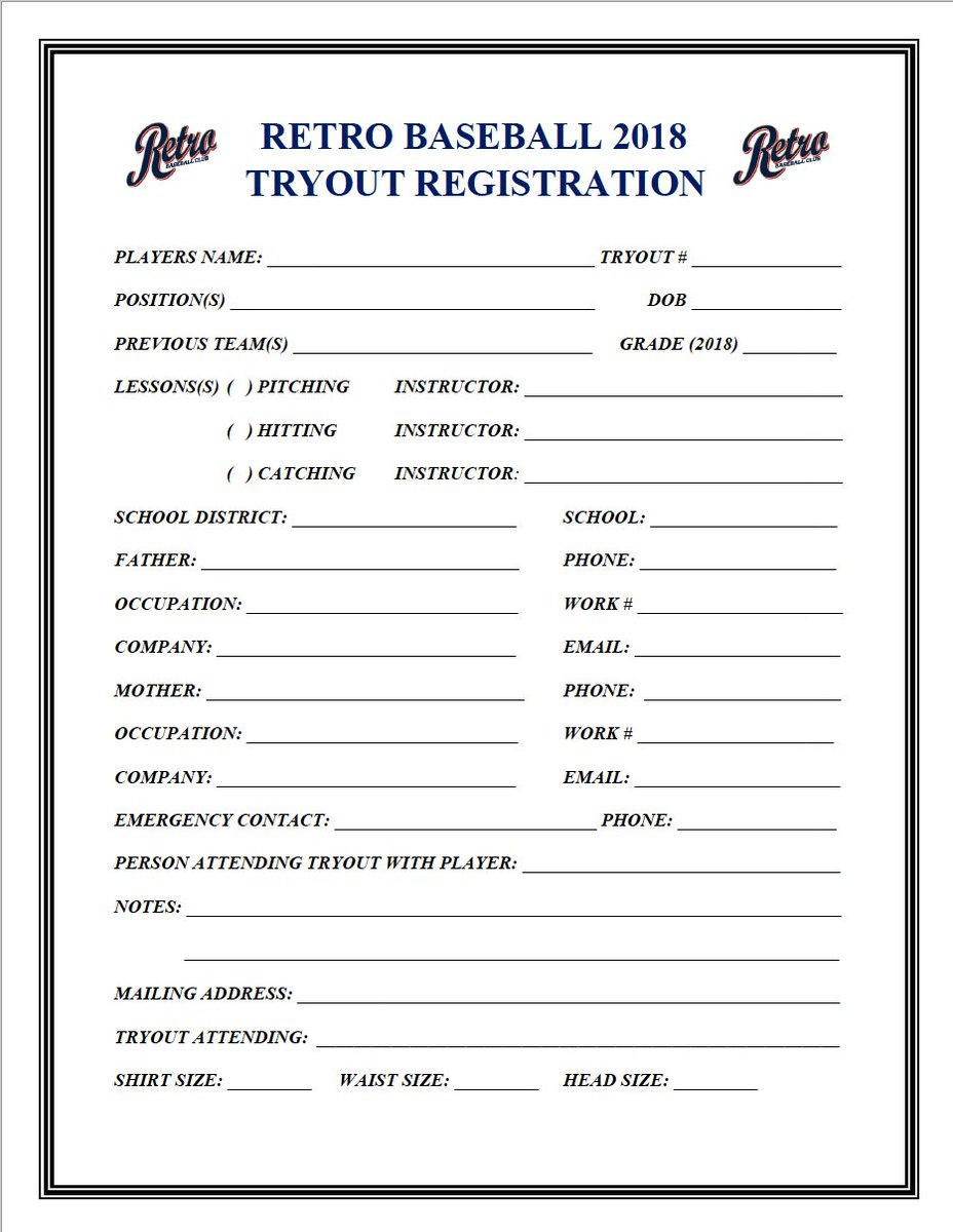"""baseball tryout forms Retro Baseball Club on Twitter: """"Retro Tryout Alert! Interested in ..."""