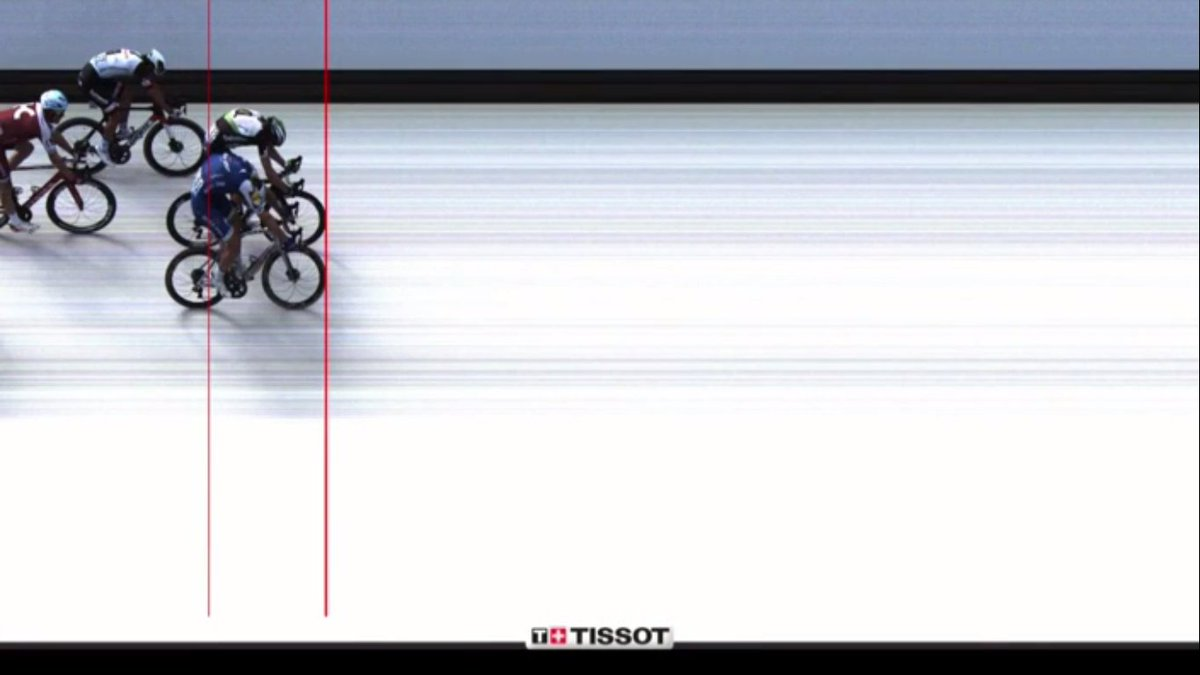 I was able to see the official photo finish zoomed to individual pixels. 1 pixel was the difference. 0.0003 sec.  https://t.co/EKt4Og4EEQ