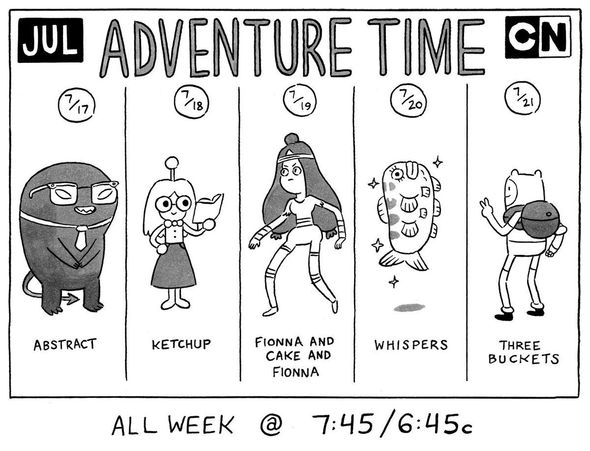 Adventure Time returns Monday, July 17th with a week of new episodes @ 7:45/6:45c on @cartoonnetwork https://t.co/3Arg0SX9Q0