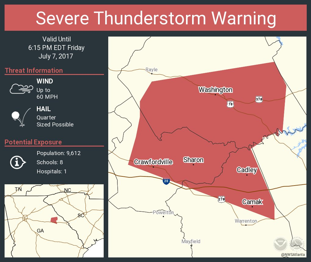 Washington Georgia Map.Nws Atlanta On Twitter Severe Thunderstorm Warning Continues For