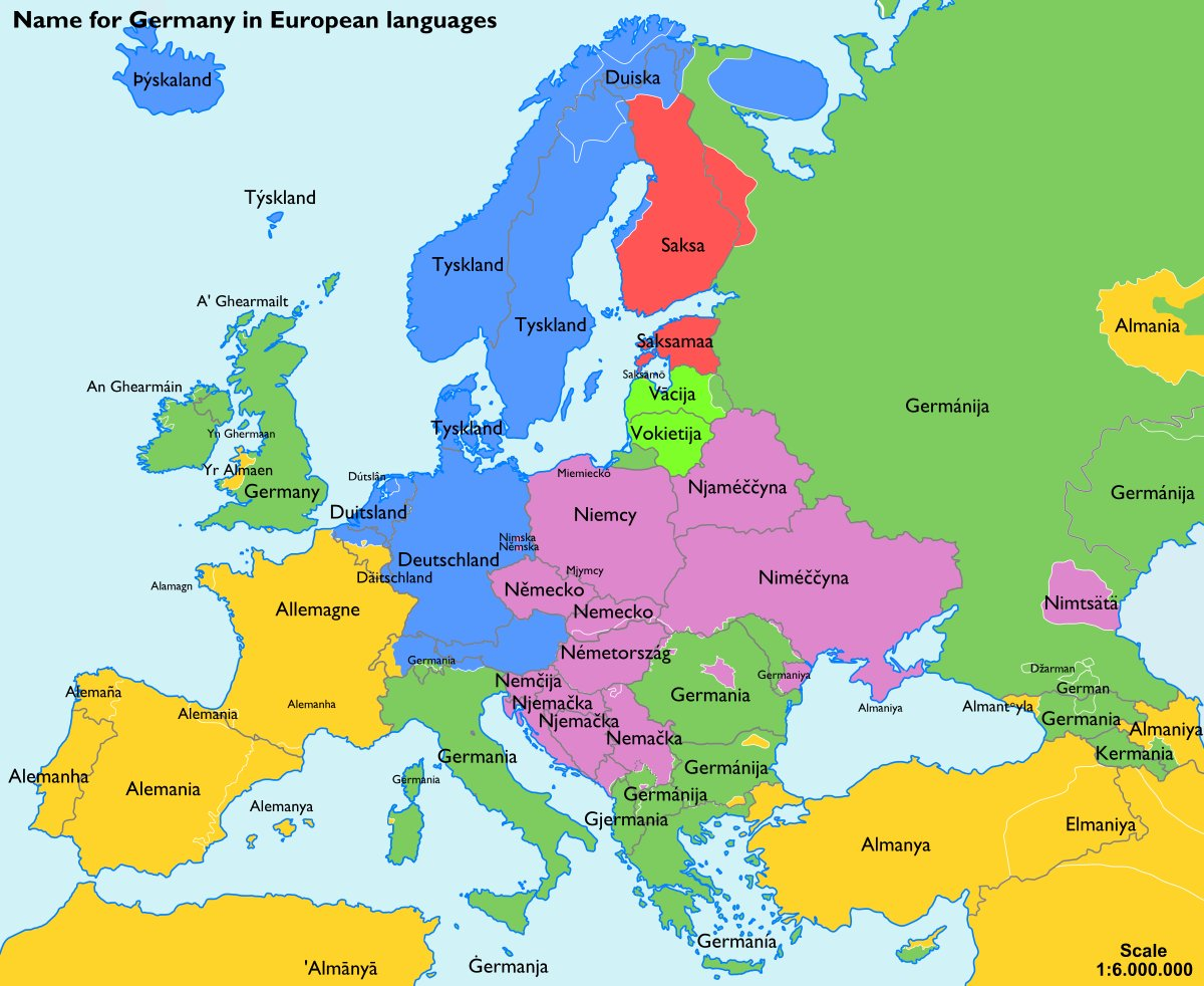 Simon Kuestenmacher on Twitter Map shows names for Germany
