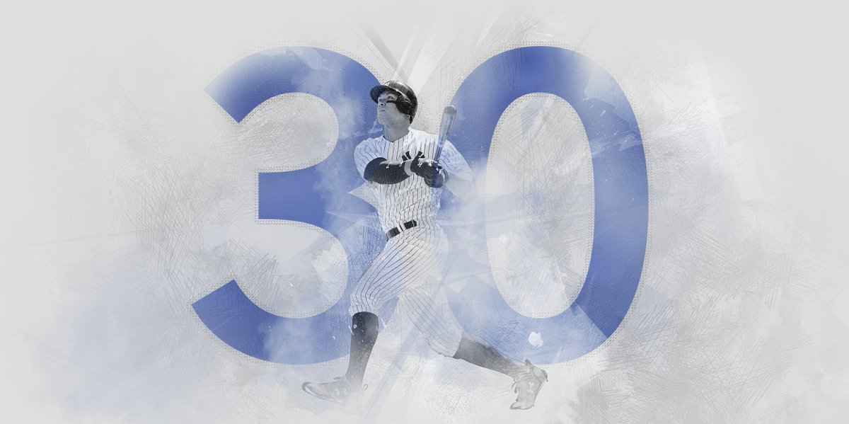 There it is! No. 30!  Aaron Judge passes Joe DiMaggio for most HR by a Yankees rookie!  We are all witnesses. #AllRise