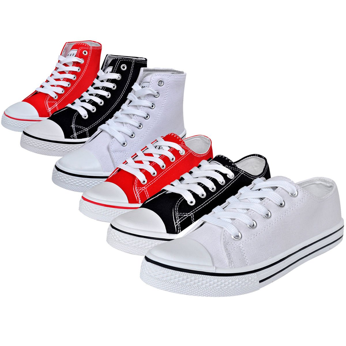 Damen High Top Sneaker Sportschuhe Turnschuhe Canvas Schnür Schuhe Gr. 36-41