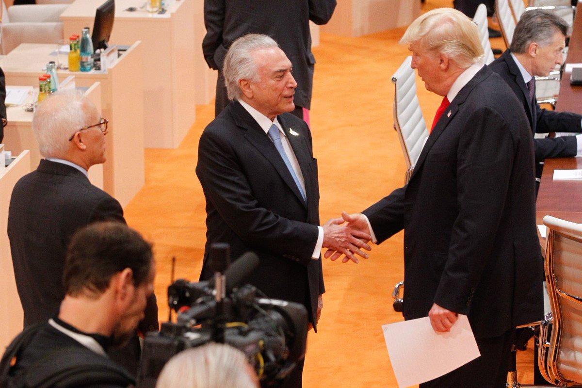 Sugeri ao presidente @realDonaldTrump aproximar empresários brasileiros e americanos para gerar novos negócios. Ele gostou da ideia #BRnoG20