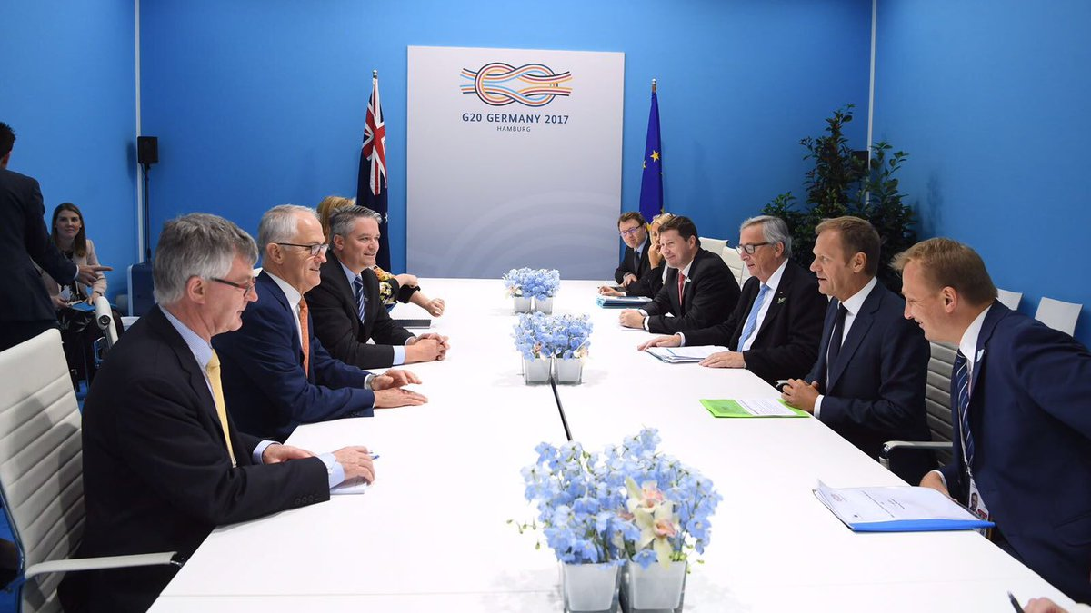 Agreed with PM @TurnbullMalcolm to accelerate work towards EU-Australia FTA as a priority. #G20