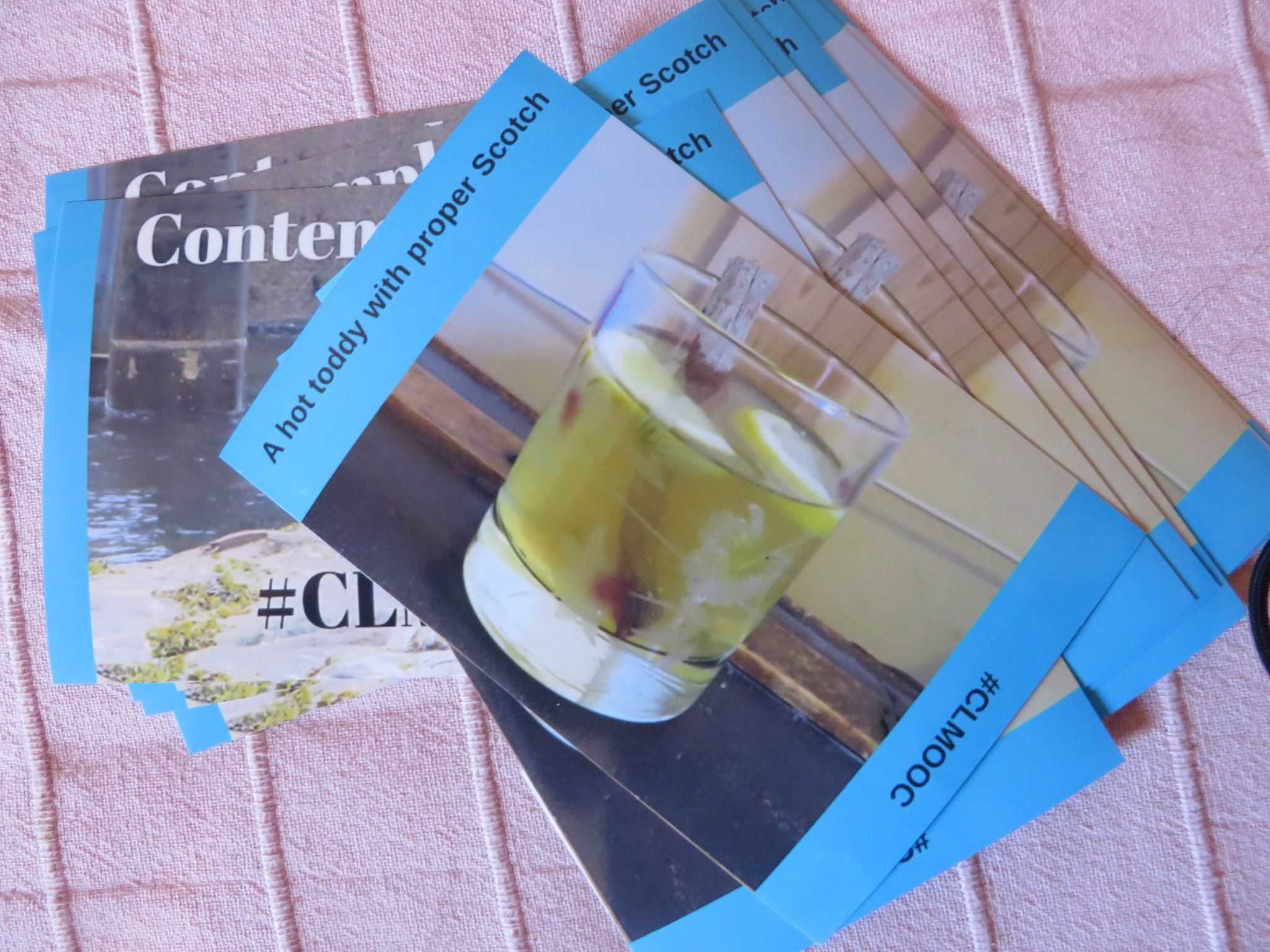 Another batch of #clmooc cards ready to post. Some food (well, drink) and some hellos https://t.co/mIH4WuUafb