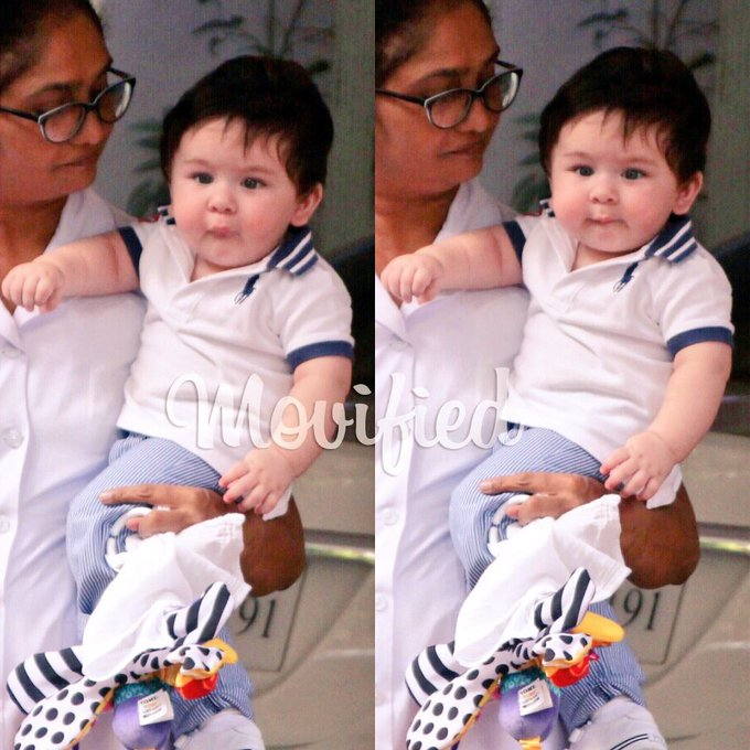 Photo - Kareena and Saif's lil' angel spotted outside his grandma's house. Future superstar! https://t.co/YUVBImGLMs