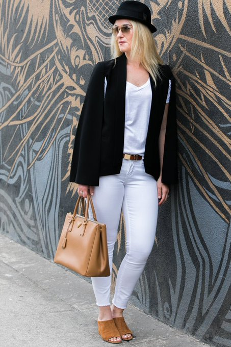 Black Cape Blazer Outfit