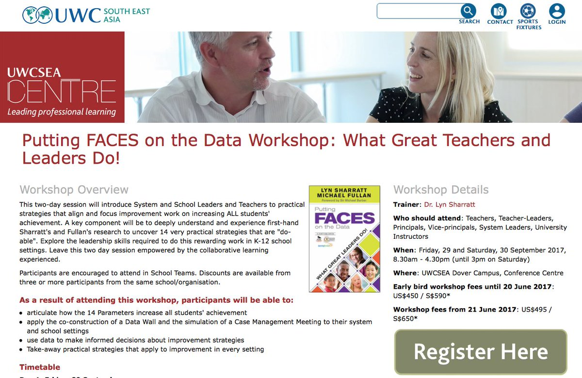 """Lyn Sharratt on Twitter: """"Register now for upcoming #uwcsea in Singapore.  Learn to use research proven methodology for student improvement ..."""