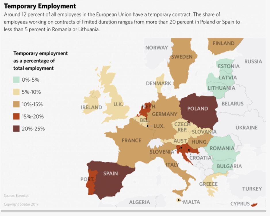 Mapas que lo dicen todo: porcentaje de trabajo temporal en la UE https://t.co/q9XYJUNYV6