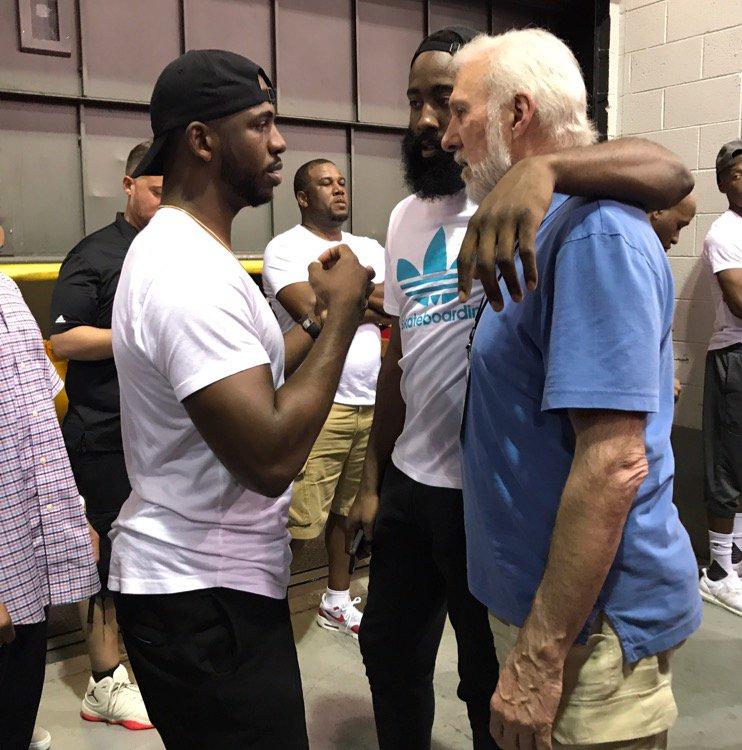 Chris Paul, James Harden, always-huggable Gregg Popovich moments ago after Spurs-Heat. https://t.co/uzDpciEshF