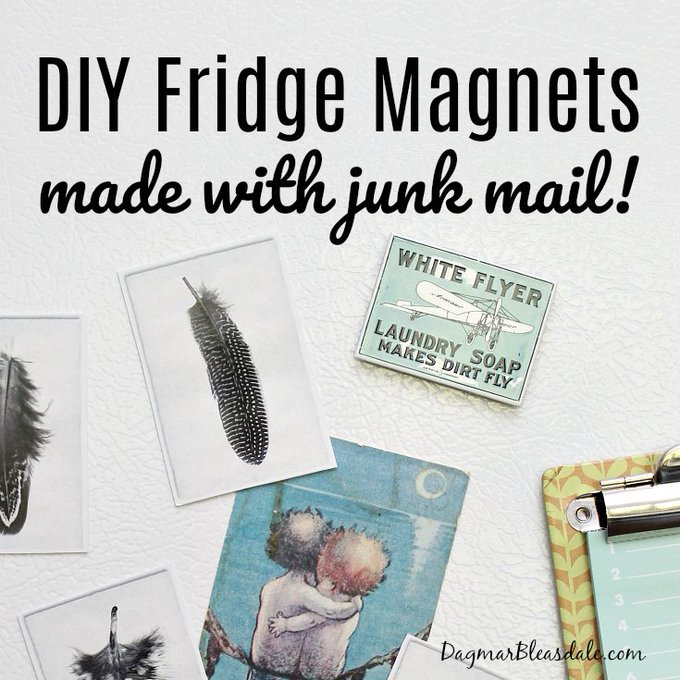 Make DIY Fridge Magnets With Junk Mail or Postcards