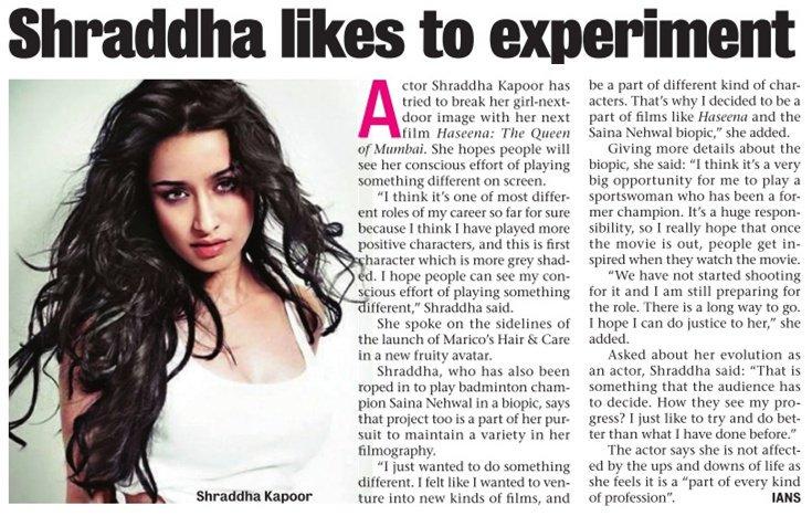 [SCAN]: @ShraddhaKapoor Likes To Experiment!