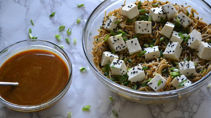 Chilled Soba Noodles w/ Spicy Orange Sesame & Tofu