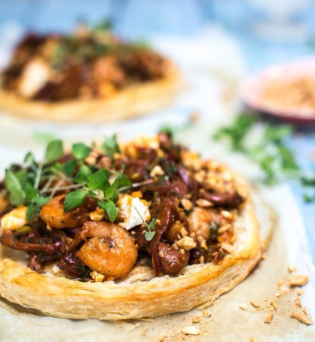 Mediterranean Prawn, Chorizo and Feta Tarts Recipe